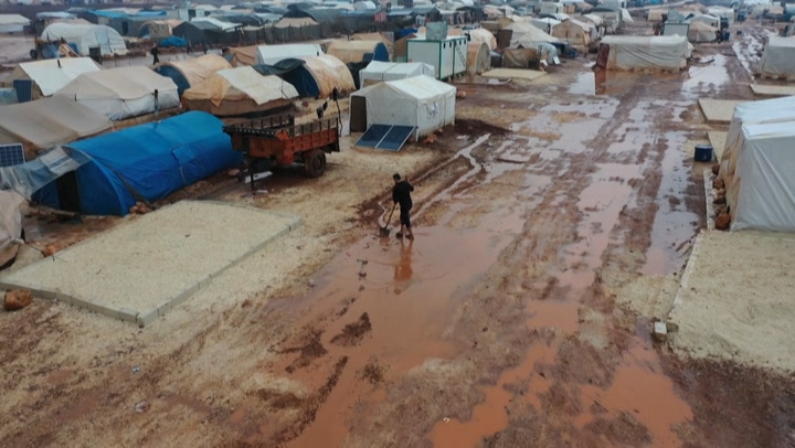 Flooding destroys temporary housing for thousands at Syrian displacement camps