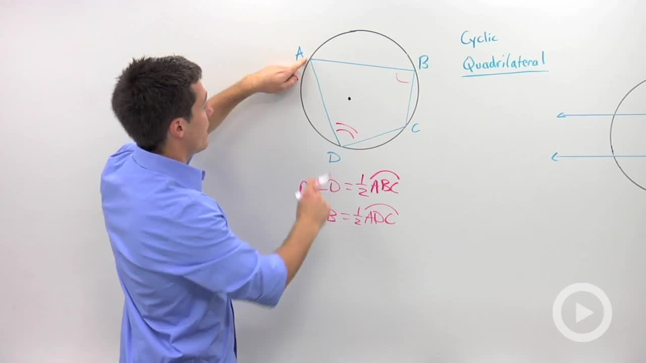 Cyclic quadrilaterals and parallel lines in circles concept cyclic quadrilaterals and parallel lines in circles concept geometry video by brightstorm ccuart Choice Image