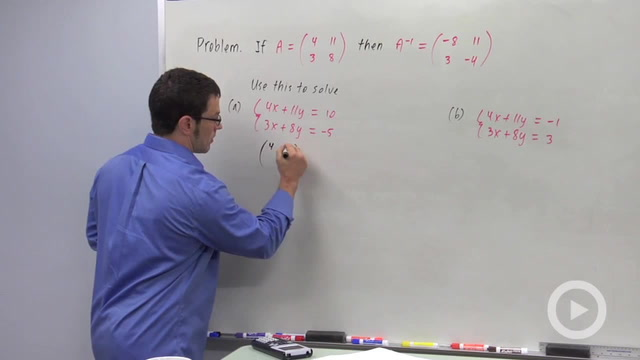 Solving Linear Systems Using Matrix Algebra - Problem 1