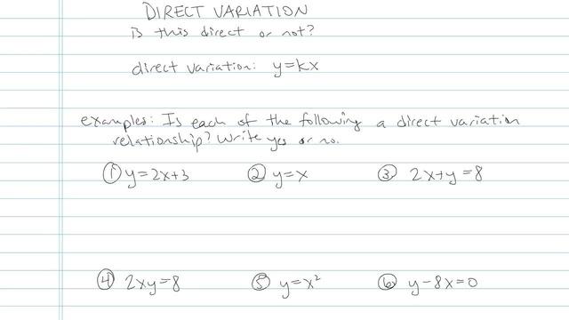 Direct Variation - Problem 4