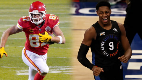 What are the odds Travis Kelce's Super Bowl receiving yards surpass Knicks' point total against Heat?