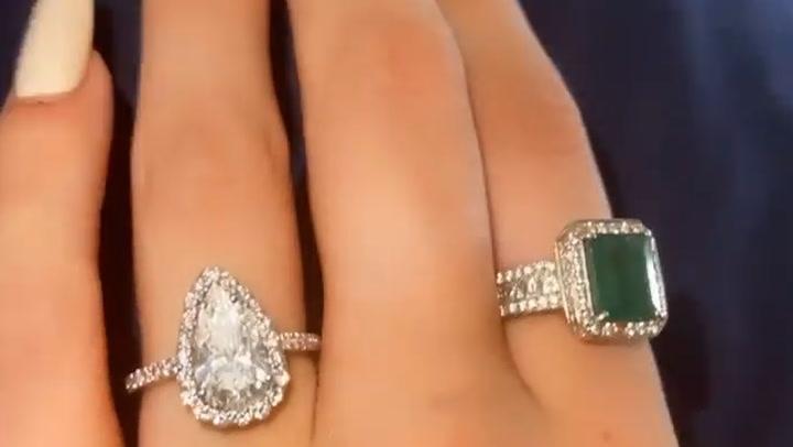 Bella Thorne films close up of huge engagement ring
