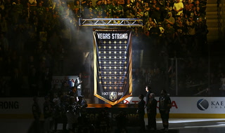 Golden Knights raise banner honoring Oct. 1 shooting victims