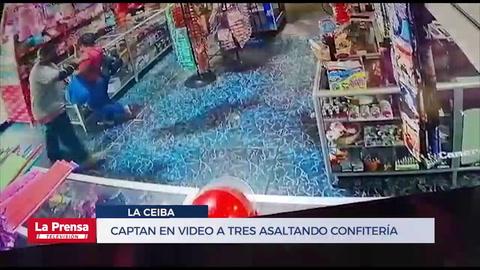 Captan en video a tres asaltando confitería en La Ceiba