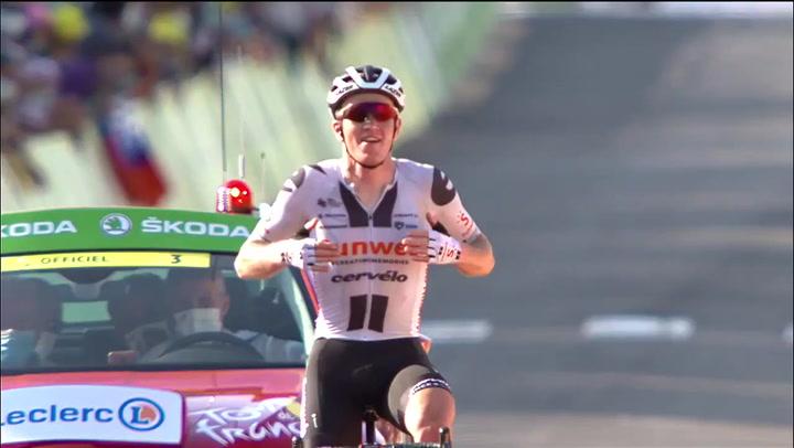 Último kilómetro de la victoria en solitario de Søren Kragh Andersen en la 19ª etapa del Tour