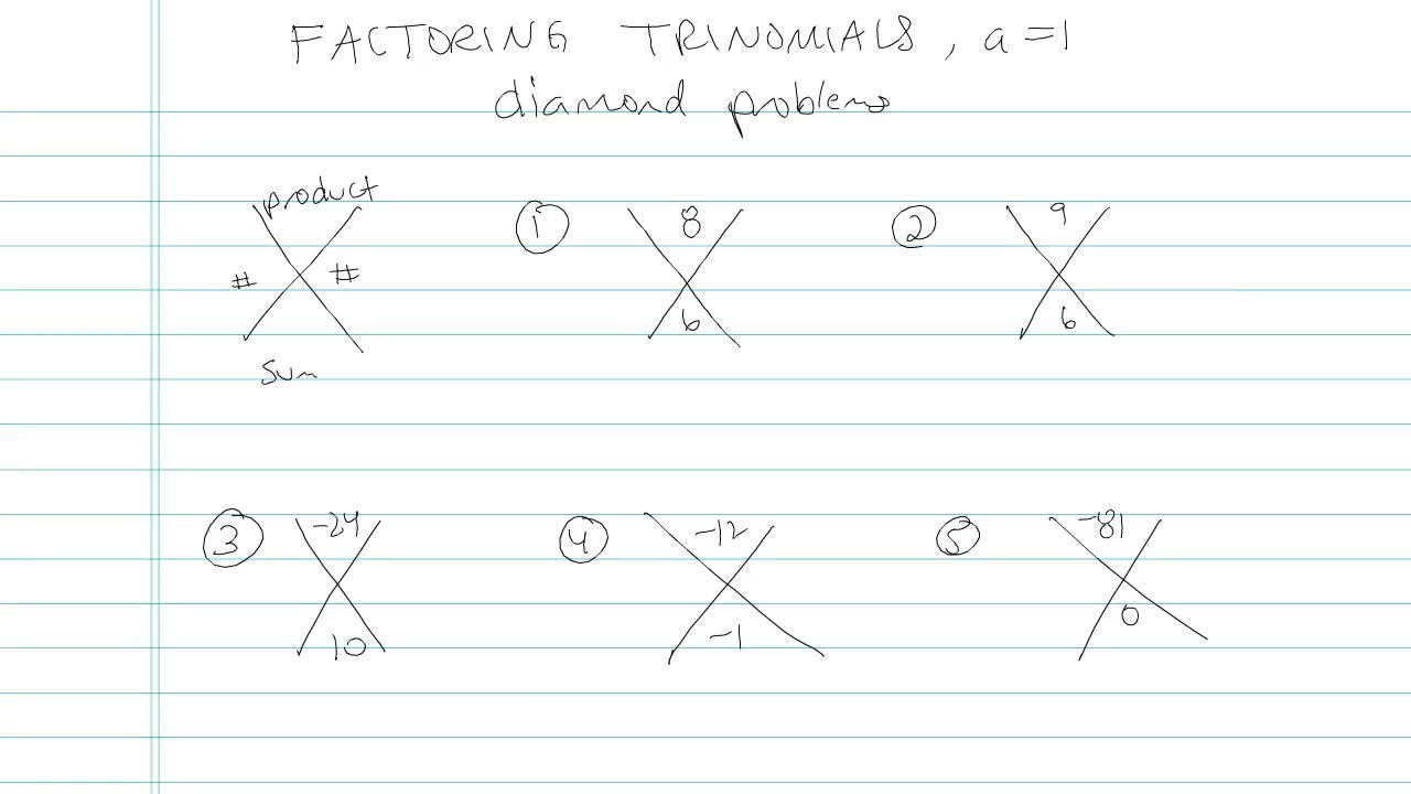 worksheet Factoring Trinomials A 1 factoring trinomials a 1 problem 11 algebra video by brightstorm