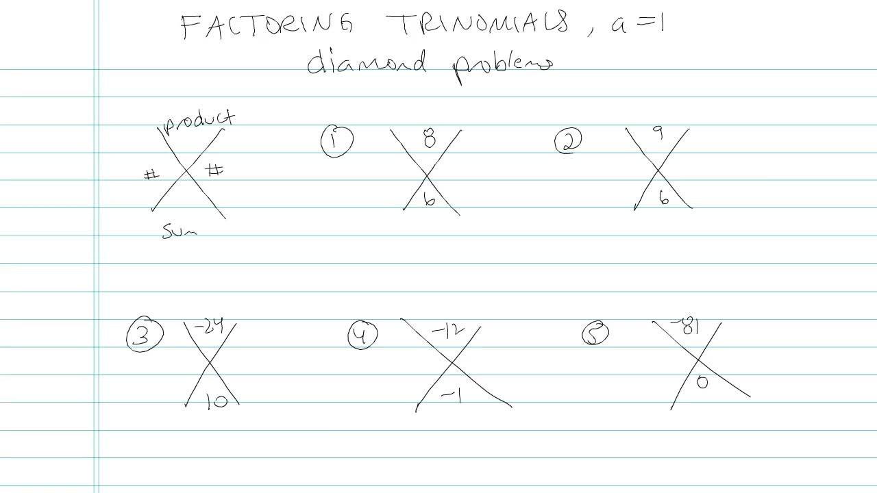 worksheet Factoring Trinomials A 1 factoring trinomials a 1 problem 11 algebra video by brightstorm
