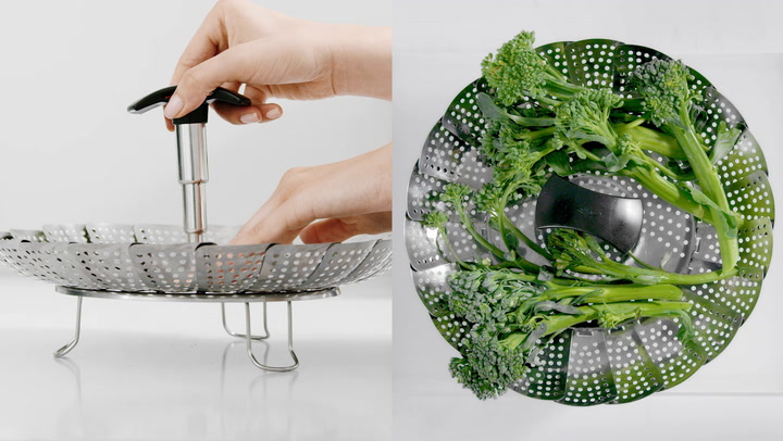 Preview image of OXO Good Grips Stainless Steel Steamer Basket with video