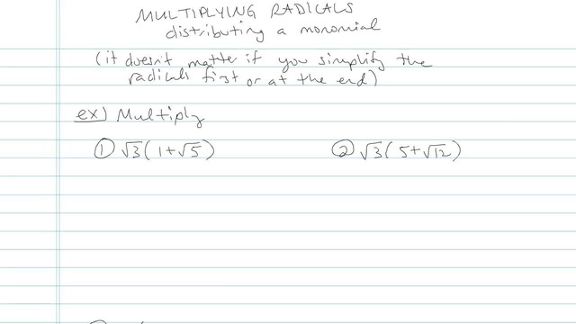 Multiplying and Distributing Radical Expressions - Problem 6