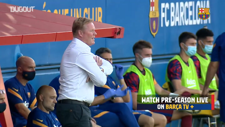 Ronald Koeman on the touchline during his first game as Barça coach