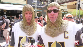 Golden Knights fans father outside T-Mobile Arena waiting for game 6 against the Sharks
