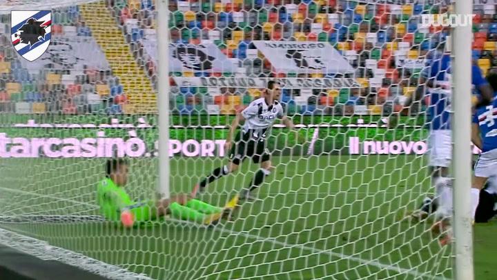 Audero makes goal saving block on Udinese's Lasagna