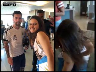 La reacción de una chica brasileña al conocer a su ídolo Leo Messi