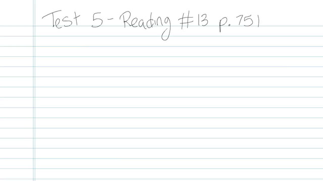 Test 5 - Reading - Question 13
