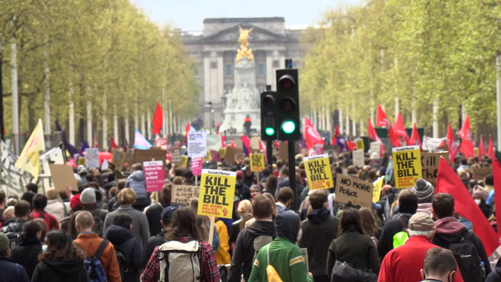 Kill the Bill protesters march through central London