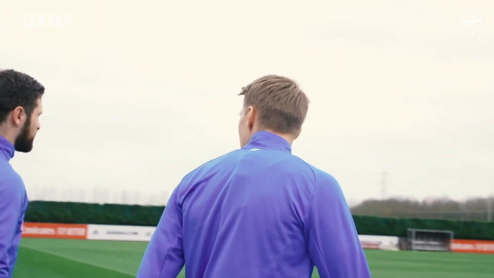 Ødegaard's back-heel assist in Arsenal training ahead of Man United