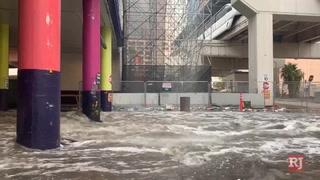 Flooding at Linq parking garage – VIDEO