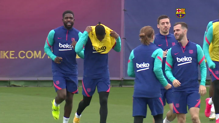 Entrenamiento del Barça previo al partido contra el Athletic