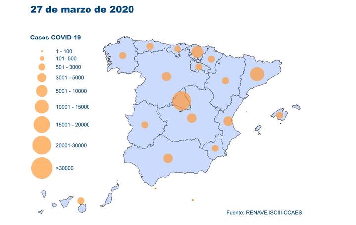 Evolución del Coronavirus en España hasta el 28 de marzo