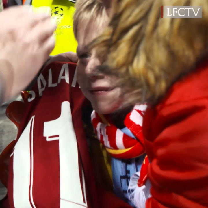 Salah makes young fan's day after Napoli win