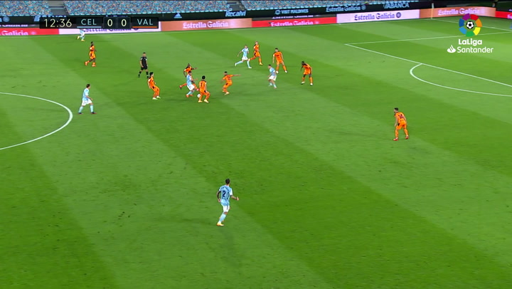Gol de Iago Apas (1-0) en el Celta 2-1 Valencia
