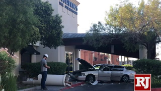 A driver suspected of being under the influence crashed his vehicle into building
