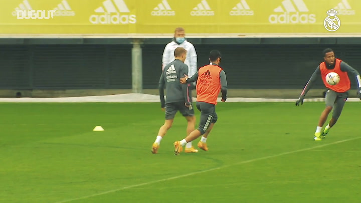 Goals and saves during a rainy training session