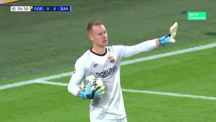 Champions League: Dortmund-Barça. Ter Stegen detiene un penalti a Reus cometido por Semedo