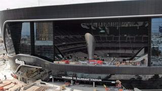 Allegiant Stadium lanai doors open revealing Al Davis Memorial Torch
