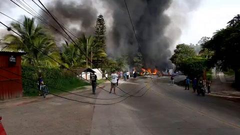 Pavoroso incendio tras volcarse rastra con combustible