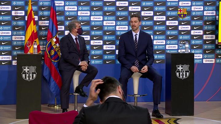 La presentación de Pau Gasol tras su retorno al Barça