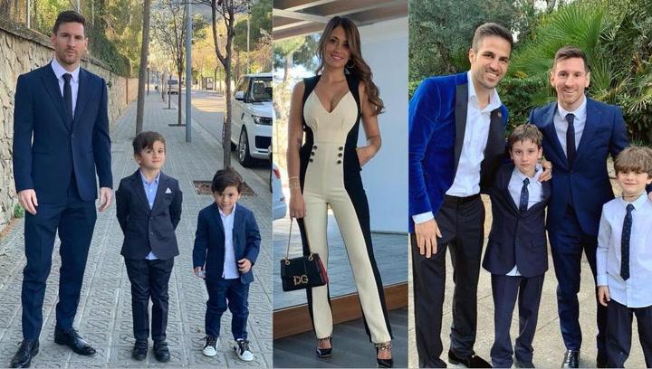 Los Messi en el bautizo de Lia, Capri y Leonardo