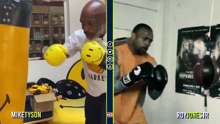 Comparativa 'side to side' del entrenamiento de Mike Tyson y el de su próximo rival, Roy Jones Jr