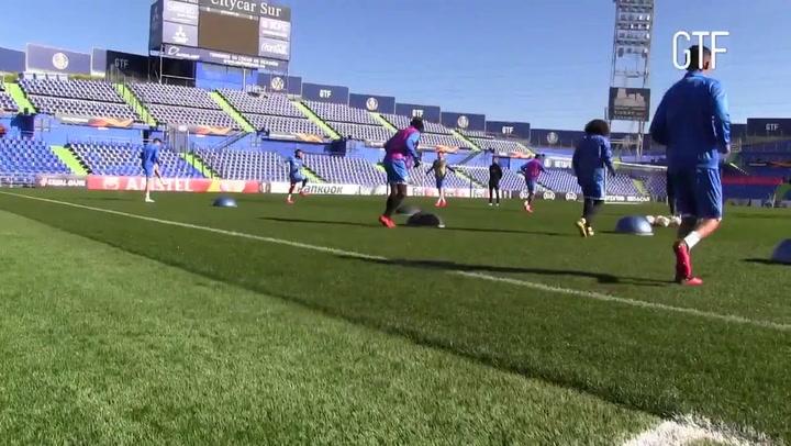 Último entrenamiento del Getafe antes de medirse al Ajax en la Europa League