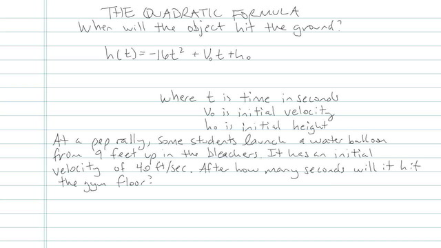 The Quadratic Formula - Problem 6