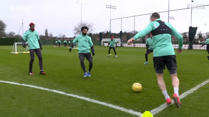 Mohamed Salah and team-mates in Liverpool training pre-Norwich City