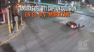 Cámaras del 911 captan colisión entre vehículo y motocicleta