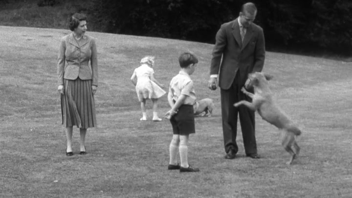 Queen Elizabeth II and her family play with dogs on grounds of Balmoral Castle