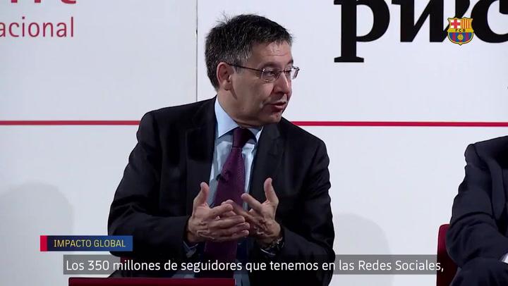 Josep Maria Bartomeu durante la presentación en Foment del Treball del impacto del Barça en la ciudad de Barcelona