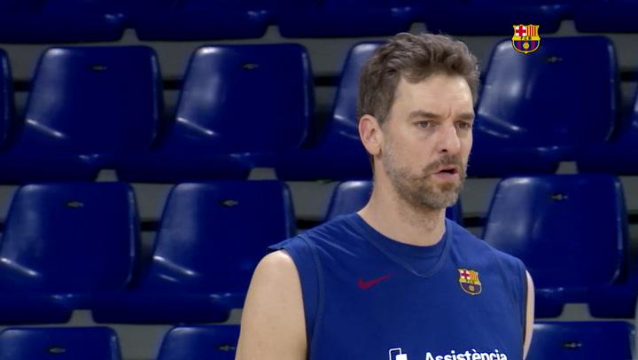 Entrenamiento del Barça de basket antes del partido ante el Bayern