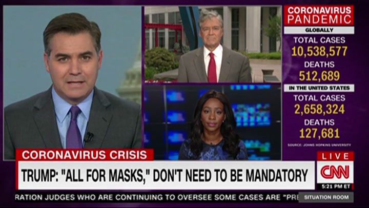 CNN's Acosta on Trump Liking How He Looks in Mask: This Isn't About Looks -It Is About Saving Lives'