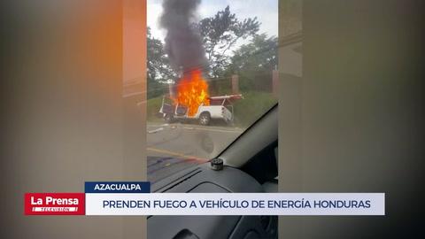 Incendian vehículo de la Empresa Energía Honduras en Azacualpa,Santa Bárbara