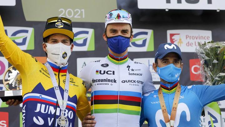 Alaphilippe recupera la corona en Huy ante Roglic y Valverde