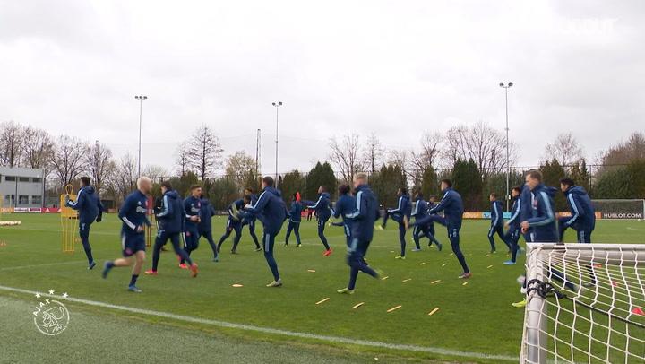 Ajax players prepare for Roma showdown