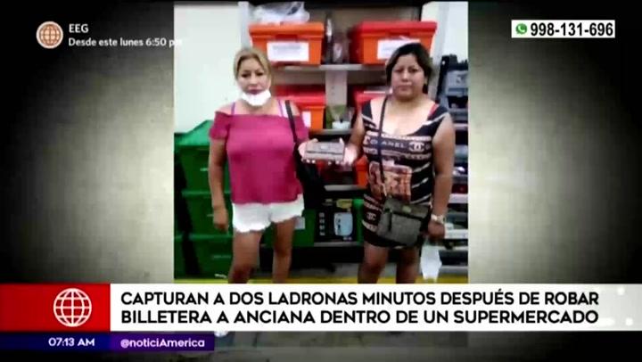 inocente anciana es víctima de dos ladronas en un supermercado de Miraflores