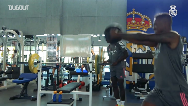 Real Madrid players hit the gym