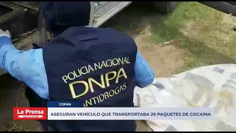 Aseguran vehículo que transportaba 29 paquetes de cocaína en Copán