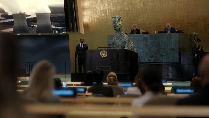 Dinosaur warns the UN about human extinction