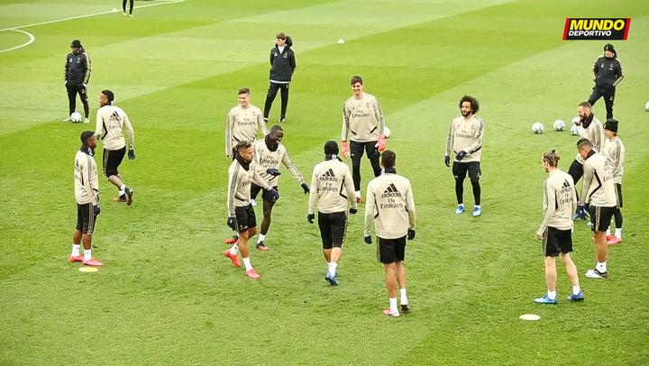 Entrenamiento del Real Madrid en Valdebebas previo al Clásico de mañana