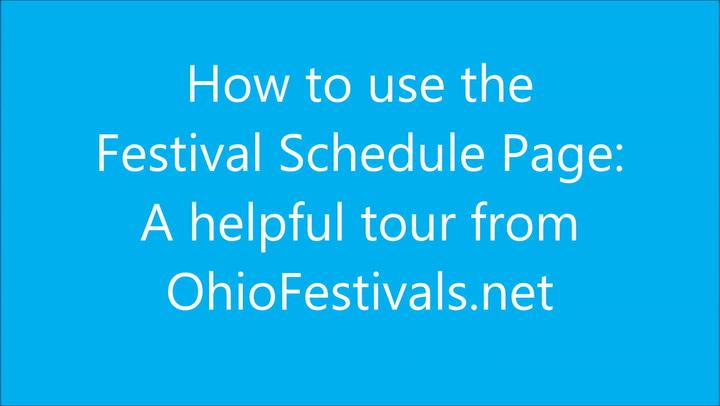Festival Schedule Tutorial